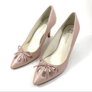 ANNE KLEIN shimmering baby pink metallic pumps